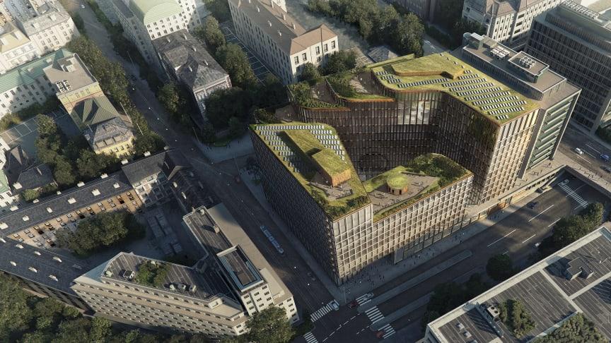 Nybygg i Vika: Slik ser det planlagte nybygget i Ruseløkkveien 26 ut, sett fra luften. I dag ligger House of Oslo her. Oppstart av rivingen blir i 1. kvartal 2018. Innflytting er estimert til 2021. Illustrasjon: Schmidt Hammer Lassen Architects.