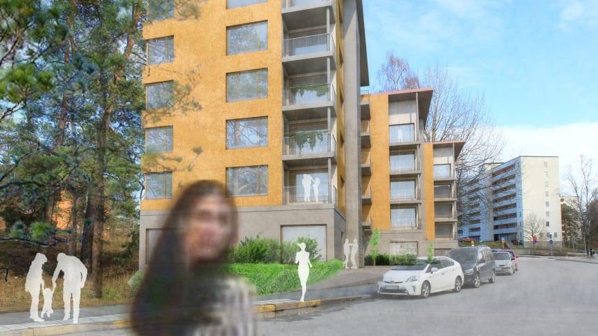 Skiss över kommande byggnation på Melongatan, Hässelby. Bild: Bergkrantz Arkitektur