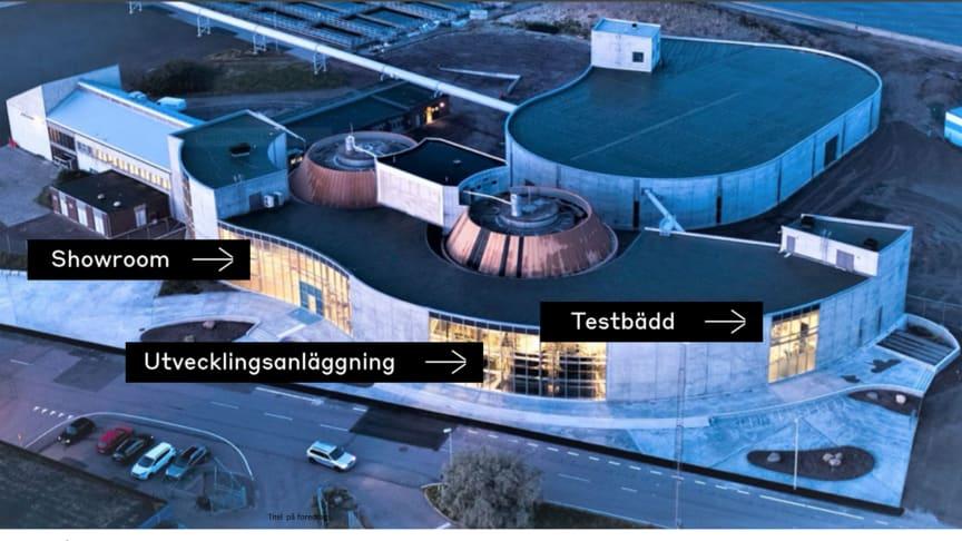 RecoLab består av tre avdelningar, en utvecklingsanläggning, en testbädd och ett showroom.