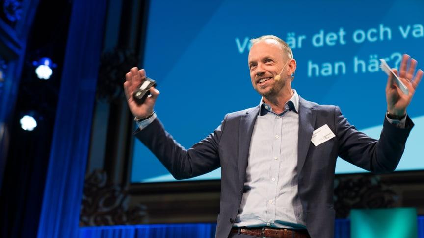 Johan Kallblad, Exsitecs vd stod på scen under eventet och pratade om vikten av att skapa medarbetarengagemang