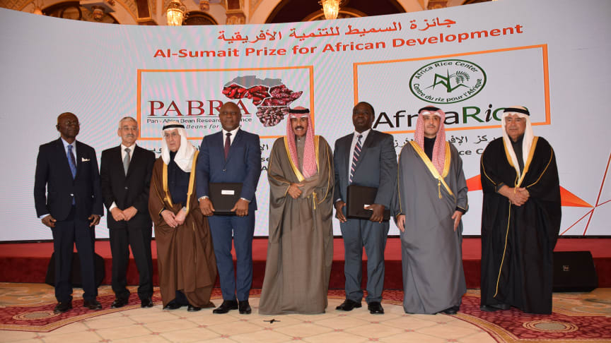 His Highness the Crown Prince Sheikh Nawaf Al Ahmed Al Sabah center with Al Sumait Prize winners and members of board of trustees at Ceremony