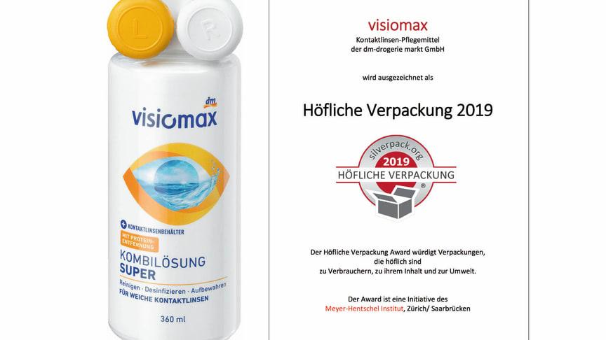 """Die visiomax Kombilösung Super wurde mit dem SilverPack Award """"Höfliche Verpackung"""" ausgezeichnet."""