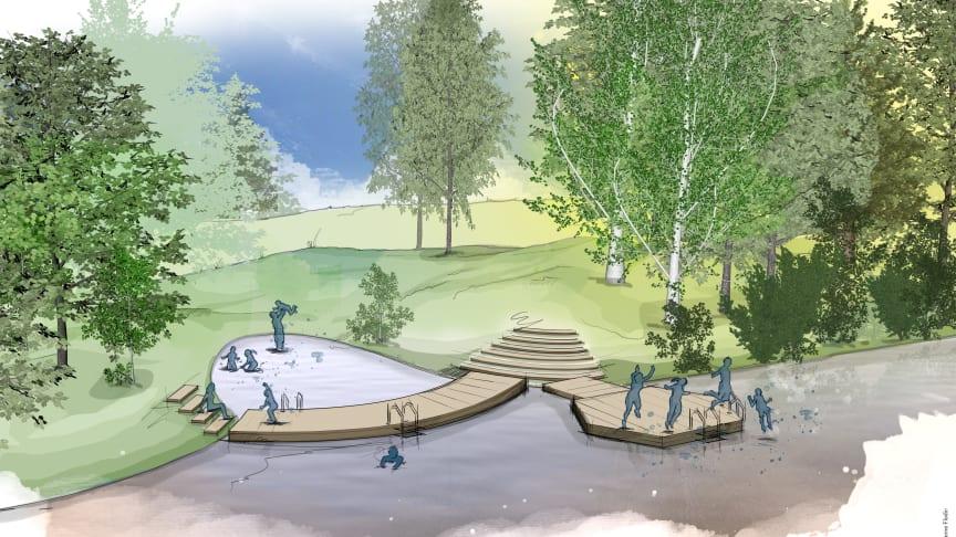 Illustrationsbild över det nya friluftsbadet Hästhagens bryggbad. Illustration: Susanne Flodin.