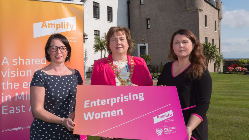 Rhonda Lynn ( Mid and East Antrim), Mayor Maureen Morrow and Portia Woods (Carrickfergus Enterprise).
