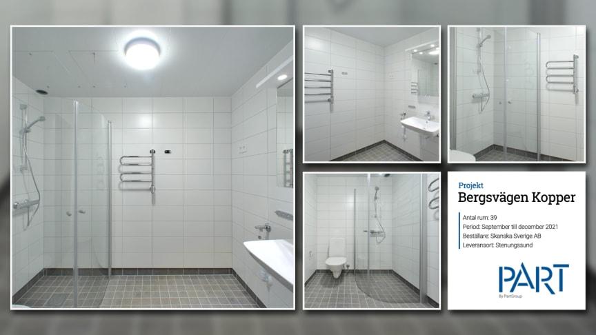Part levererar 39 badrum till projektet Bergsvägen Kopper i Stenungsund.