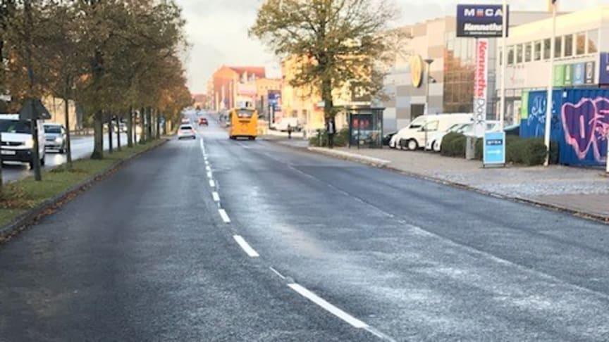 Lyckat försök med återvunnen asfalt på Lundavägen i Malmö