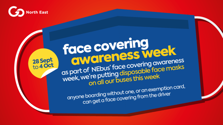 Go North East adds disposable face coverings to its buses as part of NEbus' face covering awareness week