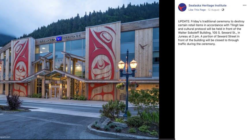 Screenshot of Sealaska Heritage Institute Facebook page