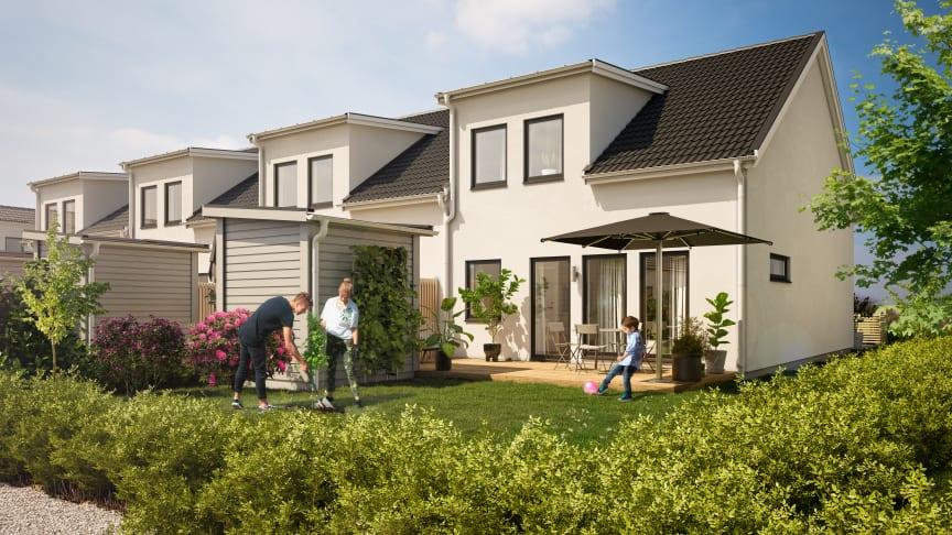 Fina och välplanerade 1- och 1,5-plans radhus byggs Skegrie i Trelleborg kommun