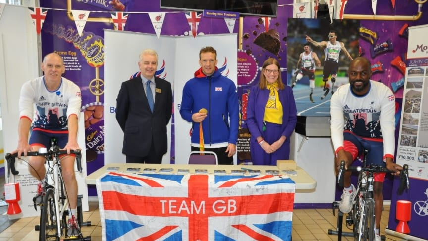 L-R: Steve Davies, Gerrard Baldwin (General Manager at Cadbury World), Richard Whitehead, Michelle Darragh (Cadbury World Community Champion) and Michael Huggins
