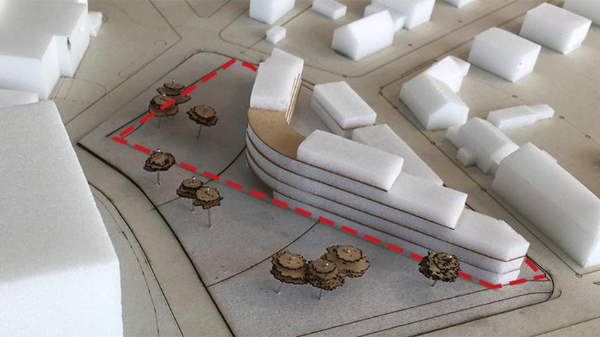 En tidig skiss på hur studentboendet kan se ut, utformningen ska ses som ett förslag.