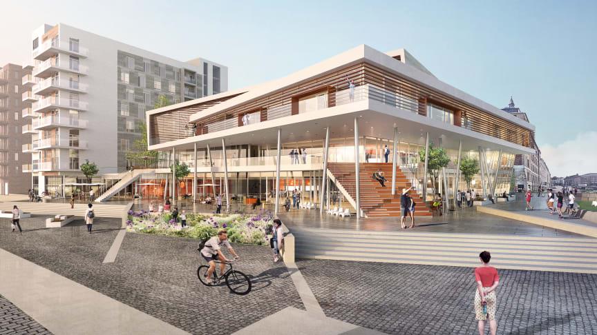 Kongressanläggningen SeaU ska stå klar i Helsingborg 2020. Illustration av Jais Arkitekter.