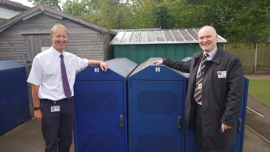 Chilcote School deputy head teacher Mark Cross with Michael Byrne, from West Midlands Railway