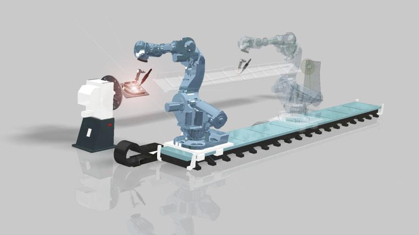Procada från Innovatum Startup utvecklar världens första 3D-metallskrivare för rymden. Bilden visar en flexibel 3D-skrivare baserad på en industrirobot och Procadas teknik.