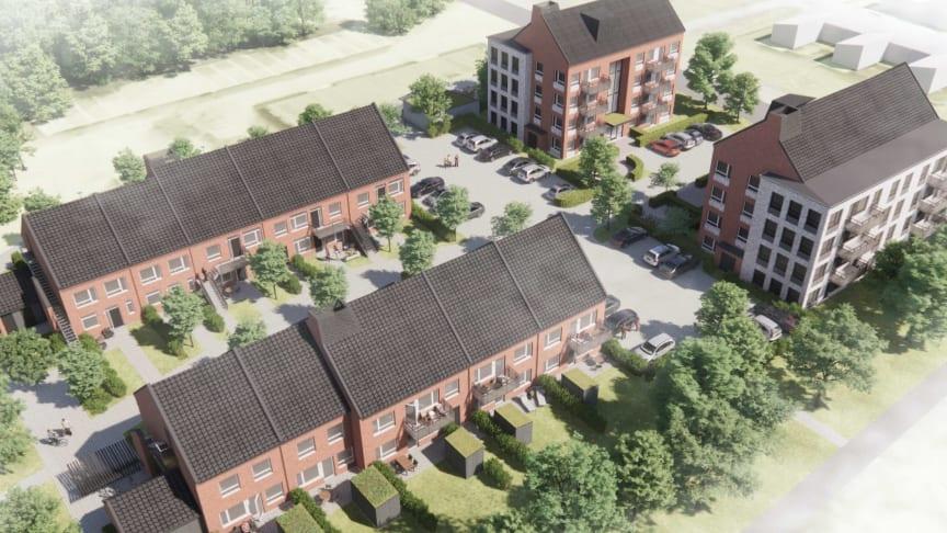 Hus 1 och 2 byggs med fyra våningar och vind med förråd Hus 3 och 4 kommer byggas i två våningar.