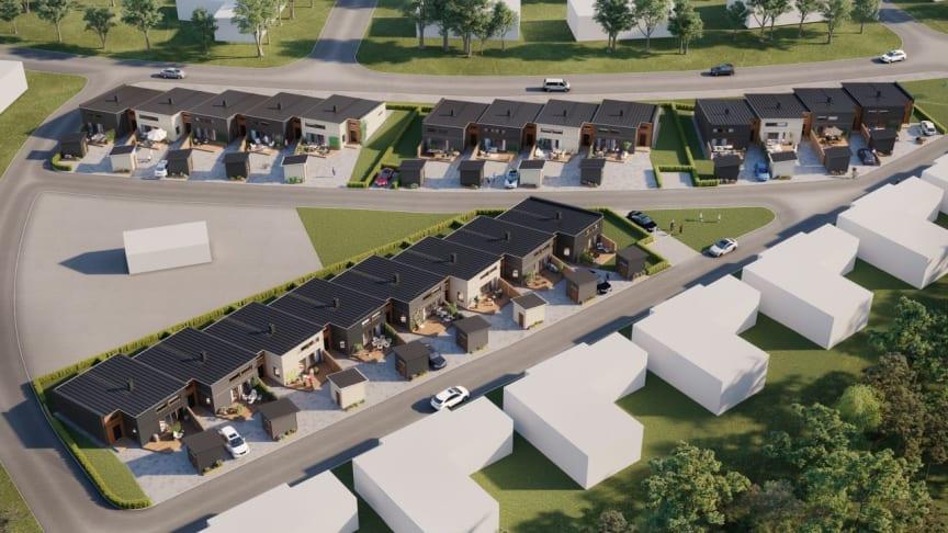 Förskjutna enplansradhus kommer att byggas i Brf Lyckan i Kalmar.