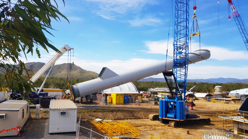 A 38.35m chimney stack is erected at MSF Sugar's Tableland Green Energy Power Plant. (Picture from MSF Sugar)