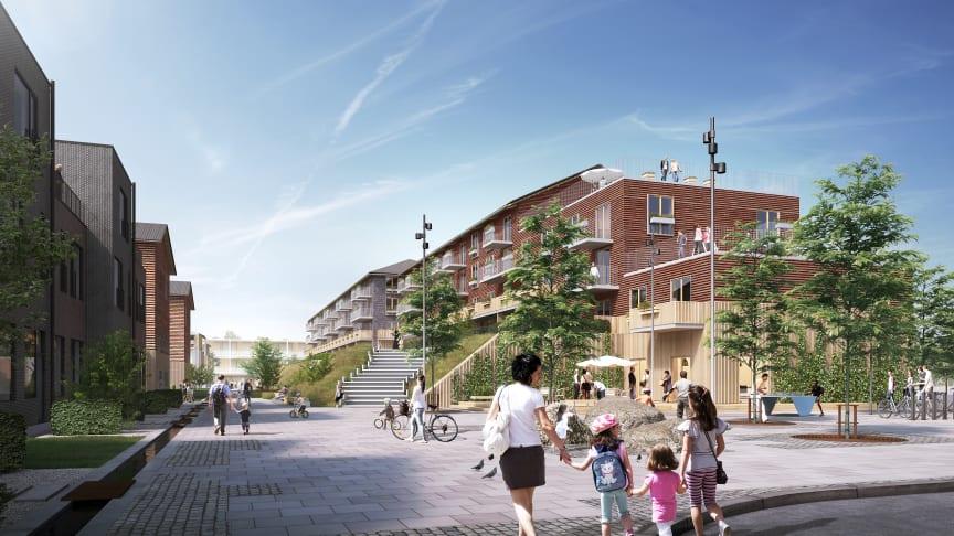 Taastrupgaard set fra øst. De delvise nedrivninger af blokke giver nye både boligtyper, variation i bebyggelsen og trapper blokkene ned mod den lavere bebyggelse i Selsmosen.