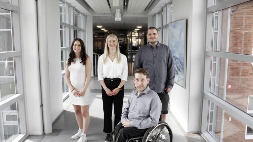 Här ses från vänster näringslivsansvarig Malin Olsson, ordförande Paulina Samuelsson, vice ordförande Anders Arkbro samt Christoffer Andersson, Kårhusgeneral.