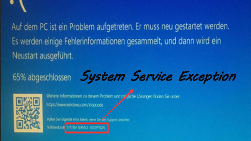 system service exception windows 10 loesung
