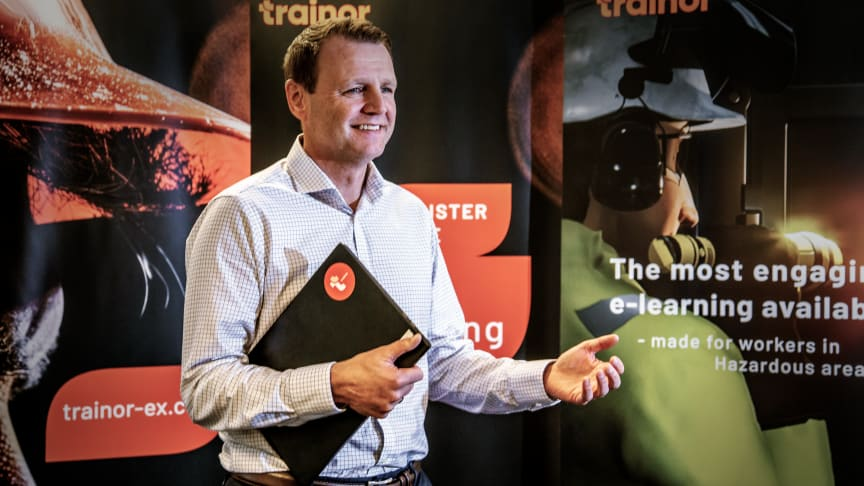 Morten Aasen, CCO at Trainor, presented Trainor's modern digital learning experience for an international audience at HazardEx Conference 2021. Photo: Trainor