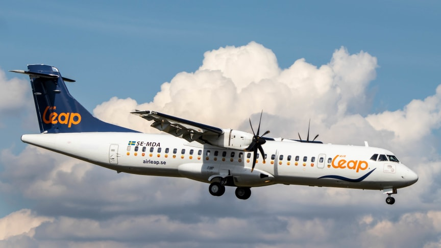 Air Leaps ATR 72 inför landning. Foto: Wilhelm Adolfsson