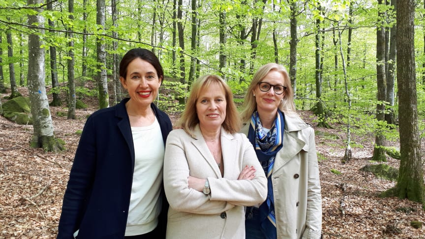 Från vänster: Carina Nunstedt, förlagschef HarperCollins Nordic, Mariette Lindstein, Johanna Rydergren, förläggare HarperCollins Nordic