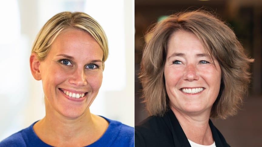 Karolina Brick, hållbarhetschef, och Johanna Frelin, vd, på Riksbyggen.