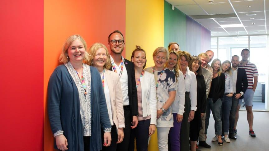 Nordic Choice Hotels med i nettverk for LHBT på arbeidsplassen. Her representert ved Karin Sjögren, nummer fire fra høyre. FOTO: Accenture Norway