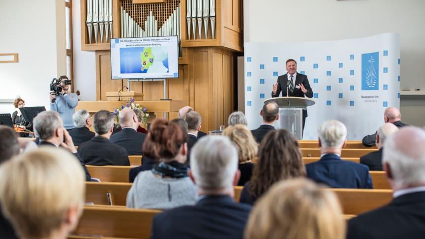 Vertreter der Kirchen und der Politik folgten am 5. März 2018 der Einladung der Neuapostolischen Kirche Westdeutschland zu einem Empfang nach Frankfurt
