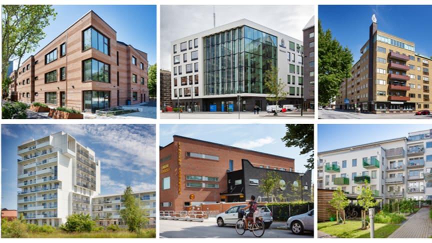 Sex finalister tävlar om Stadsbyggnadspriset och Gröna Lansen 2019. Foto: Bojana Lukac