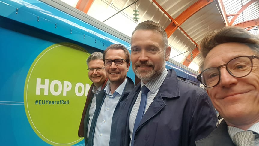 Henrik Dahlin, vd MTR, Joakim Sundh, vd MTRX, Ted Söderholm, vd Green Cargo, och Gustaf Engstrand näringspolitisk chef Tågföretagen.