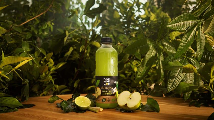 God Morgon® Ekologisk Äpple, Lime & Citrongräs 0,85L lanserades på Ica, Coop & City Gross v.39 2021.