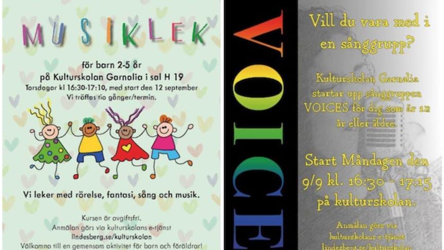 Musiklek för barn och sånggruppen Voices - två av Kulturskolan Garnalias kurser som startar i september.