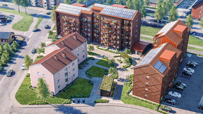 Kvarteret Gullhönan på Klackerup kommer att bestå av två vinkelställda lamellhus med tegelfasader som smälter väl in i det befintliga 1950-talsområdet. De nya husen byggs med grön betong och återvunnen armering. På taken installeras solceller.