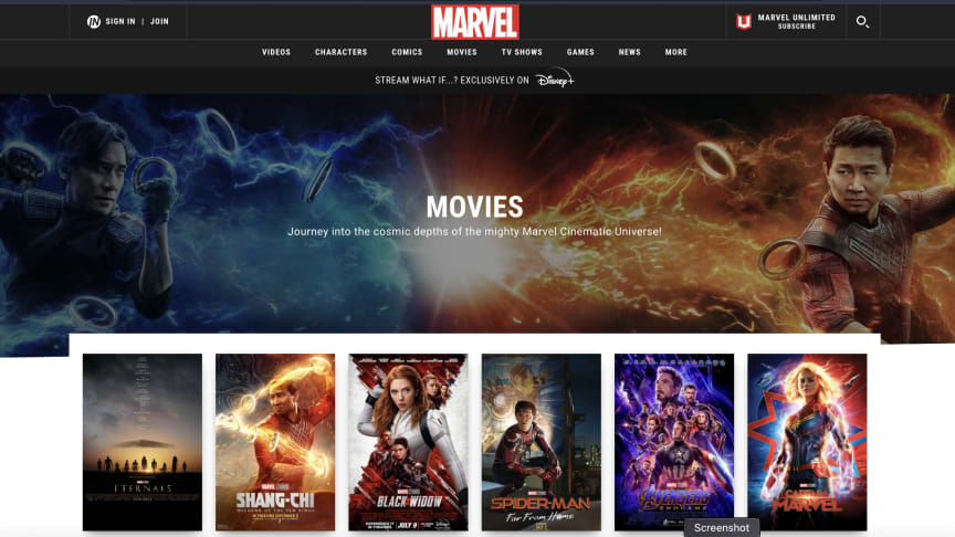 Screenshot of Marvel Studios website