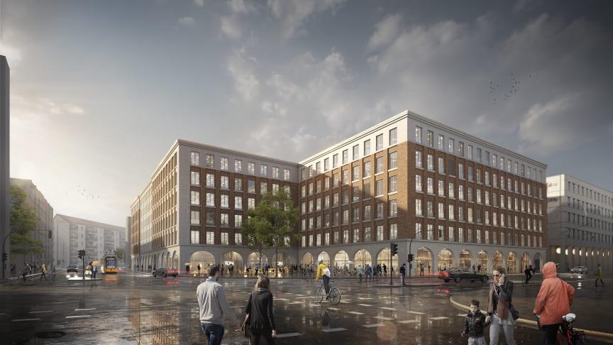 """Auf dem Filetgrundstück Ecke Freiberger- und Hertha-Lindner-Straße entsteht das neue Bürogebäude """"Annenhöfe"""". (Copyright: TLG IMMOBILIEN AG, Urheber: Knerer und Lang Architekten GmbH)"""