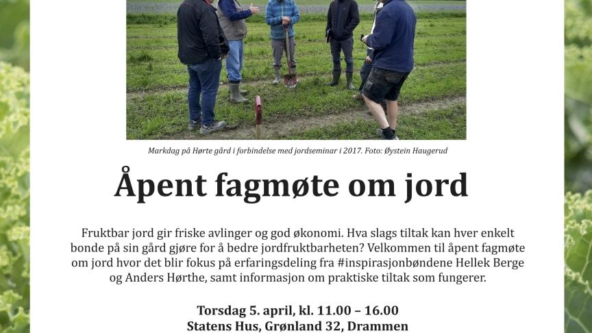 Program for Åpent fagmøte om jord 5. april 2018.