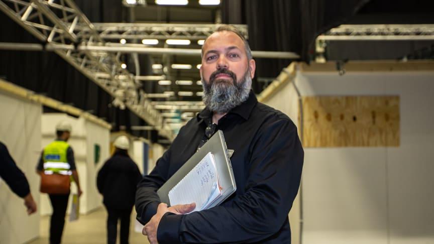 Rikard Skärebo, Produktions- och samordningschef på Stockholmsmässan och för uppbyggnaden av det externa sjukhuset