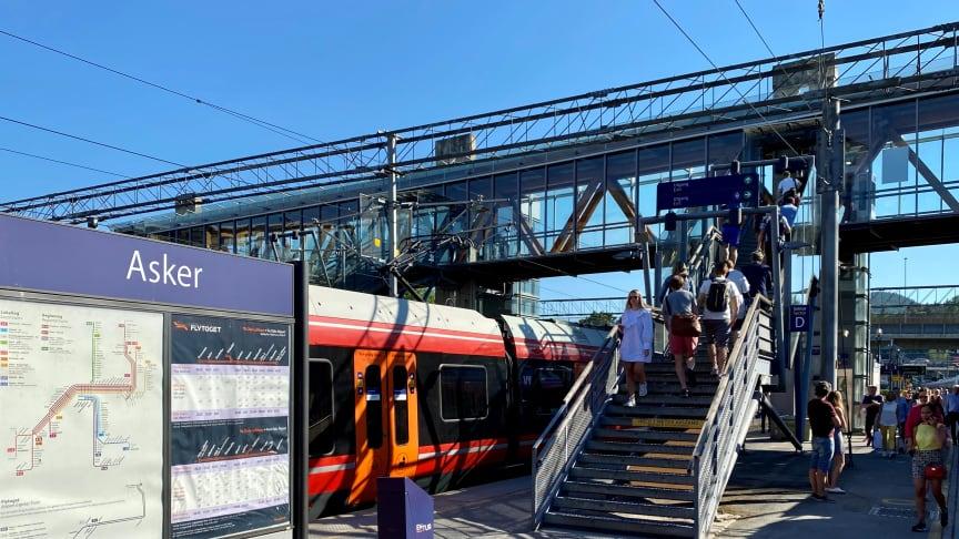 Norconsult skal utarbeide teknisk detaljplan for nytt vendespor ved Asker stasjon, på oppdrag for Bane NOR. (Foto: Norconsult)