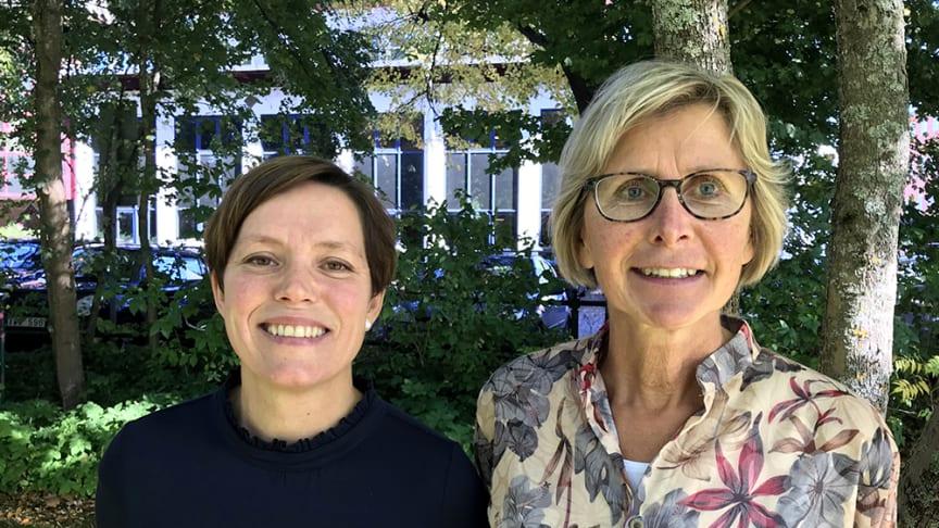 Jessica Ekberg och Monika Lång, Råtorpsskolan respektive Södra Råtorps skola, får årets Helgepris.