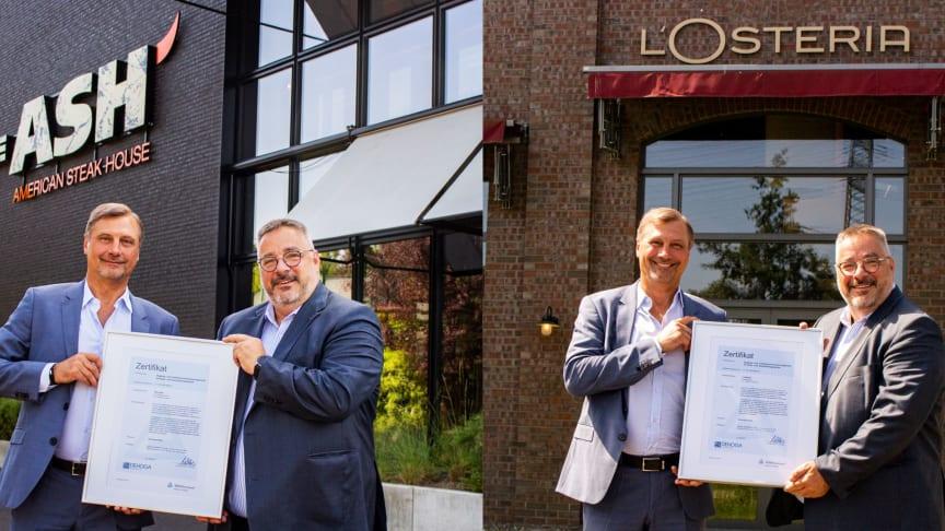 """Kent Hahne, Founder und CEO der Apeiron Restaurant & Retail Management GmbH erhält als einer der ersten Gastronomen das Zertifikat """"Hygiene- und Infektionsschutz Management im Gastgewerbe"""" für seine Restaurantkette The ASH und 19 L'Osteria Restaurant"""