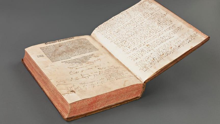 Olaus Magnus handskrivna skildring av Stockholms blodbad i KB:s unika exemplar av Gesta Danorum. Foto: Andrea Davis Kronlund/KB