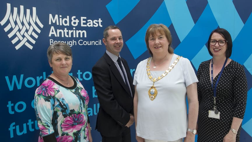 L-r is  Melanie Christie Boyle MBE, Chief Executive of Ballymena Business Centre, Sean Keenan Mid and East Antrim Economic Development Officer, Mayor Maureen Morrow, and Rhonda Lynn, Mid and East Antrim Skills and Entrepreneurship Manager.