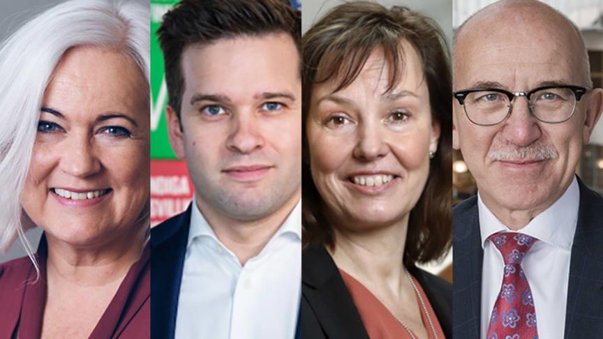 Acko Ankarberg Johansson (KD), ordförande i Riksdagens socialutskott; Gabriel Wikström (S), Nationell samordnare för Agenda 2030; Anna Nergårdh, Regeringens särskilda utredare; Anders Henriksson (S), 2:e vice ordförande SKR.