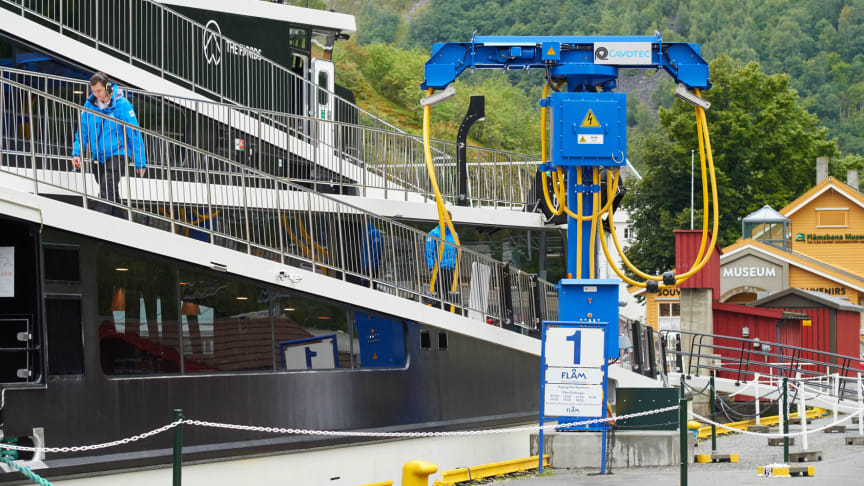 All set: a shore power dispenser unit charging the Vision of the Fjords at the Flåm berth in Norway.