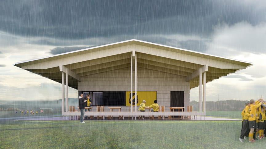 Taket går ut från klubbhuset och skapar ett skydd under regniga dagar.