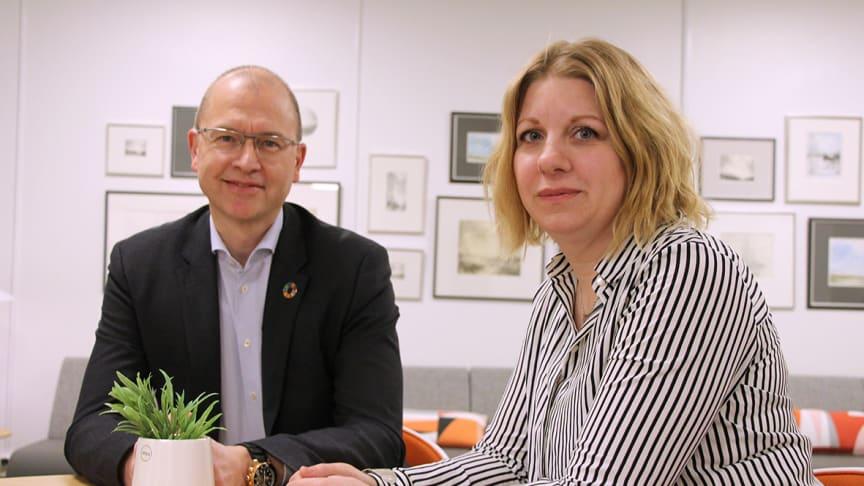 Gunnar Eikeland och Erika Mattsson, Sparbanken Nord, ser många bra initiativ runt om i regionen.