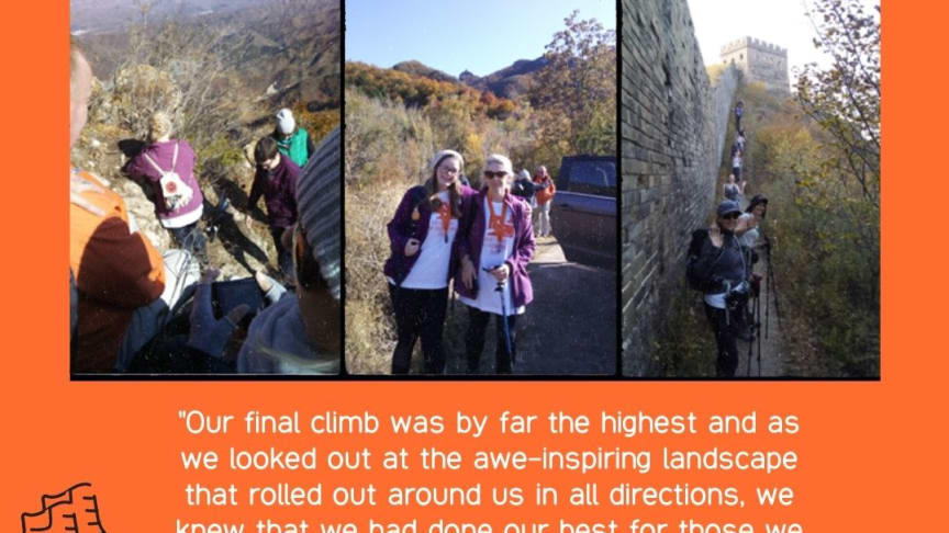 Meghan and her mum, Janet, trekking the Great Wall of China for ellenor.
