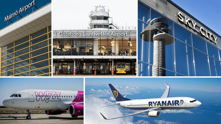 Photo: Ryanair, Wizz Air and Swedavia